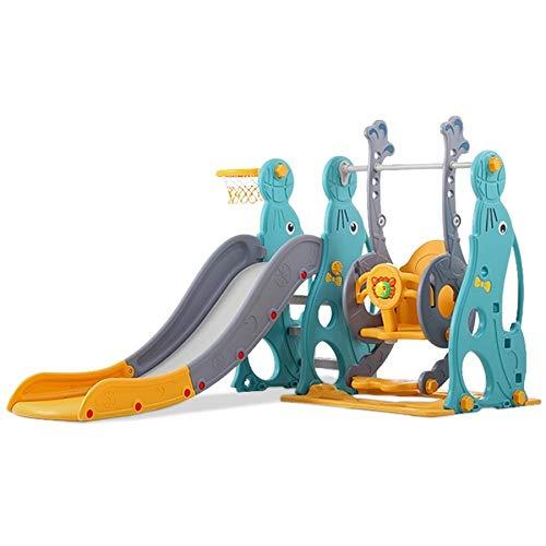 3in1 Kinder Spielplatz mit 160 cm Rutsche, höhenverstellbare Schaukel +Basketballkorb | Indoor und Outdoor | Spielturm und Rutsche mit extra Breiten Stufen und Standbeinen (türkis-orange-grau)