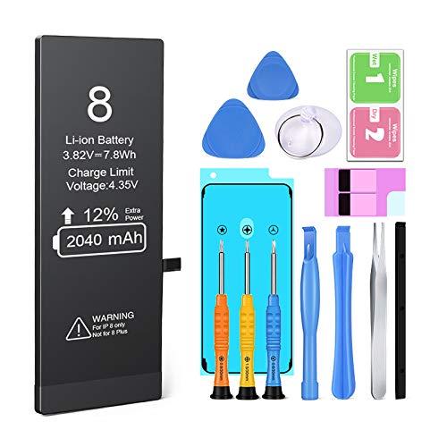 Batería para iPhone 8 2040 mAH Reemplazo de Alta Capacidad, Heganus Batería para iPhone 8 con 12% más de Capacidad Que la batería Original y con Kits de Herramientas de reparación, Cinta Adhesiva
