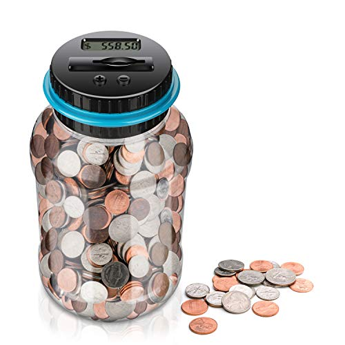 Digital Coin Bank,Amago Piggy Bank,Big Piggy Bank Digital Counting Coin Bank for Kids Adults Boys Girls as Gift on Christmas,Birthday,New Year's Day,Powered by 2AAA Battery,Not Included