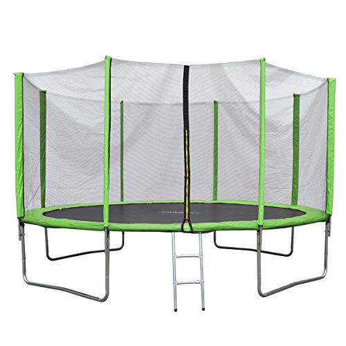 JAWINIO Trampolin Gartentrampolin Trampolin Kinder Komplett-Set Leiter Sprungtuch Randabdeckung (244 cm, Grün)