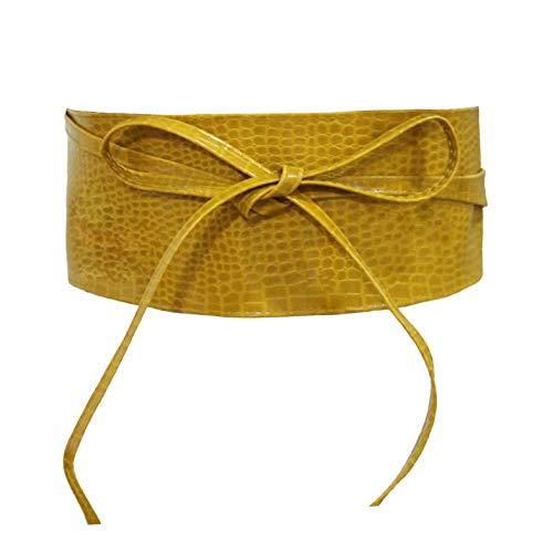 Gloop Cinturón de cintura ancha para mujer y niña, con cordones. Amarillo 18903a6 Talla única