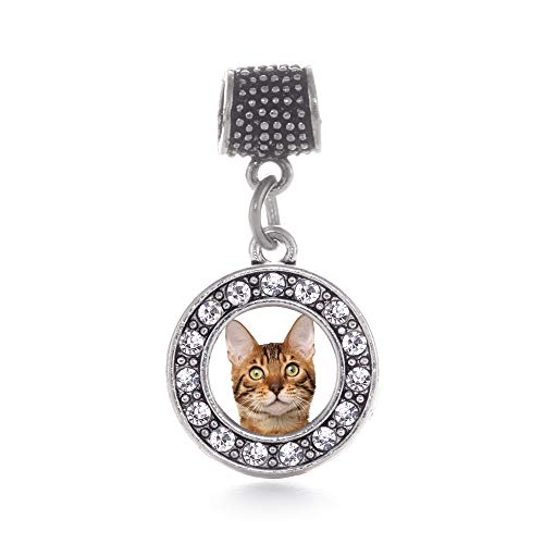Inspired Silver - Bengal Cat Memory Charm for Women - Silver Circle Charm for Bracelet with Cubic Zirconia Jewelry