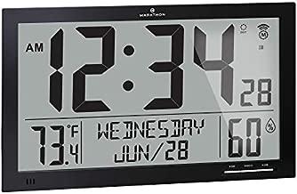 Marathon Slim Jumbo Auto-Set Atomic Full Calendar Digital Wall Clock with Temperature, Humidity, 7 Time Zone, Auto DST, Self Setting, Self Adjusting, Batteries Included (Midnight Black)