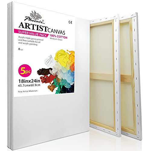 PHOENIX Pre Stretched Canvas for Painting - 18x24 Inch / 5 Pack - 5/8 Inch Profile of Super Value Pack for Oil & Acrylic Paint