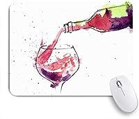 KAPANOUマウスパッド 水彩のアルコールボトル赤ワインバーの食品飲料の休日にはね ゲーミング オフィス おしゃれ 耐久性が良い 滑り止めゴム底 ゲーミングなど適用 マウス 用ノートブックコンピュータマウスマット