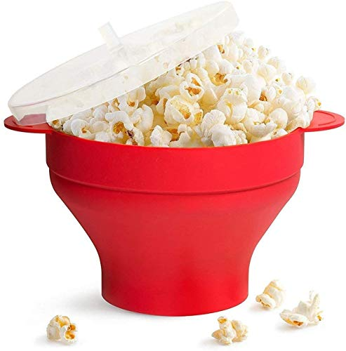 Read About Silicone Popcorn Popper, BPA Free Collapsible Hot Air Microwavable Popcorn Maker Bowl, Di...