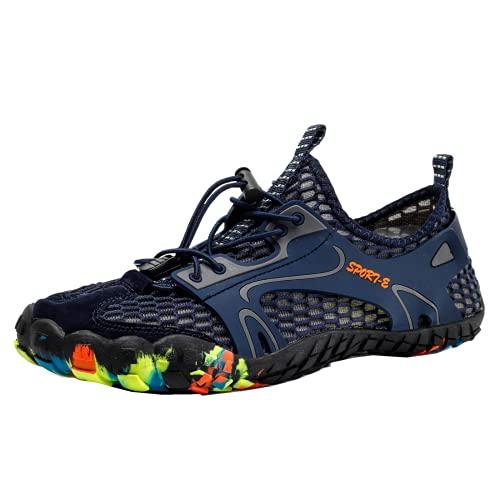 DTKJ Zapatos de agua para mujer, de secado rápido, zapatos de natación unisex con agujeros de drenaje para nadar, caminar, yoga, lago, jardín, parque, conducir, navegar, Blue, 42 EU