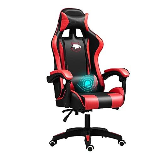 Chaise de bureau ergonomique pour gamer sur Internet, café, course sur Internet, couleur : rouge