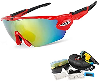 OBAOLAY Polarized Sports Cycling Sunglasses for Men Women Unisex Sun Glasses with 5 Interchangeable Lens Anti Glare for Running Golf Fishing Climbing Baseball Outdoor Driving Eyewear,Red1