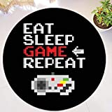 QNNN Divertido Eat Sleep Game Repeat Gaming Alfombra Redonda Alfombra para área de Jugador Alfombra de Goma Lavable Alfombra de Videojuegos Silla Decoración para el hogar Regalo-UNA_100