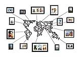 Vanetti - Mappa del Mondo Geometrica in Metallo, con 15 cornici per Foto