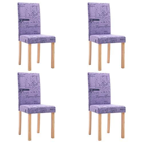 vidaXL 4X Esszimmerstuhl Polsterstuhl Küchenstuhl Stuhl Stühle Hochlehner Esszimmerstühle Sitzgruppe Lehnstuhl Stuhlset Stuhlgruppe Lila Polyester