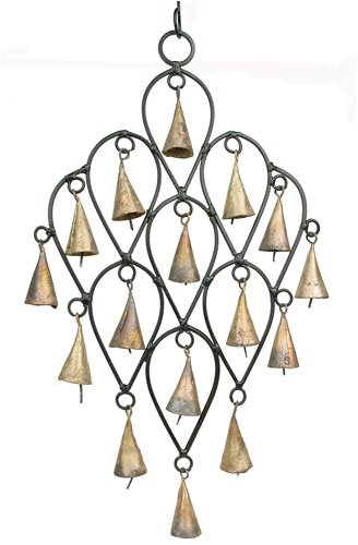 Flying Carpet Imports Temple Bell Wind Chimes 16 Bell Indian Iron Drop Chimes