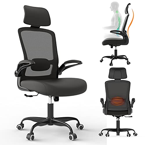 Office Chair, Ergonomic Desk Chairs, Computer Chair with Flip-up Arms & Lumbar Support - High Back Mesh Chair with Adjustable Headrest, BIFMA Passed Task Chairs