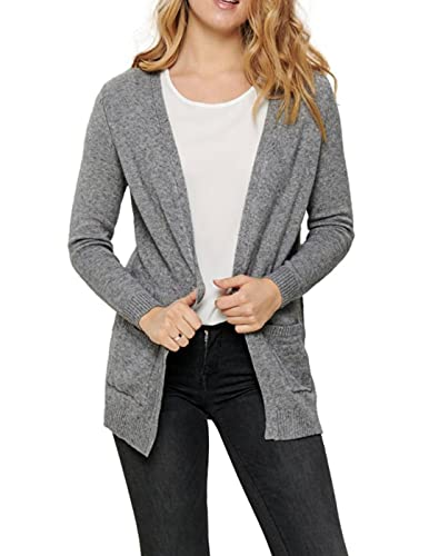 Only ONLLESLY L/S Open Cardigan KNT Noos, Gris (Medium Grey Mélange Medium Grey Mélange), M Femme