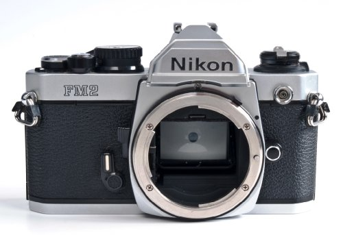 Chrome Nikon FM2n SLR film camera body only; no lens