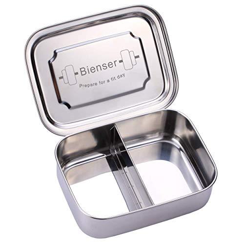 Bienser Edelstahl Brot-Dose I Lunch-Box I PLASTIKFREI I BPA Frei I 1000ml I Spülmaschinen-Fest mit Zwei Fächern und Trennwand