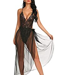 This lingerie for women 2 piece set includes high-cut stretch lace teddy with open g-string back and sheer mesh maxi wrap skirt with front ties, very softly and wear comfortably Lace bodydoll lingerie features with stretch floral lace fabric, bodycon...