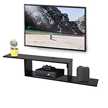 Fiudx 2 Tier Floating TV Shelf Wall Mounted Media Console Entertainment Storage Shelf Modern TV Stand Board Rack Console,60 Inches,for Cable Boxes/Routers/Remotes/DVD Players/Game Console TV Stand