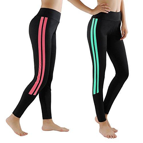 GoVIA Leggings Damen Laufhose Luftdurchlässige Trainingshose Sporthose Yogahose Fitness Yoga High Waist Lang Streifen 4138 Türkis+Pink S/M