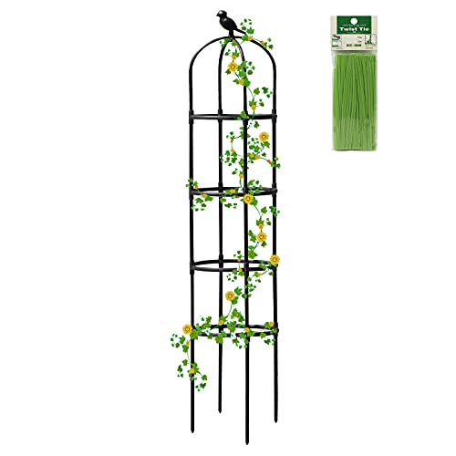 6ft Tall Garden Obelisk Trellis Stakes for Climbing Plants ,Metal with Plastic Coating Splicing Plant Climbing Stand Outdoor Black Lightweight Flower Support for Potted Plant Vines