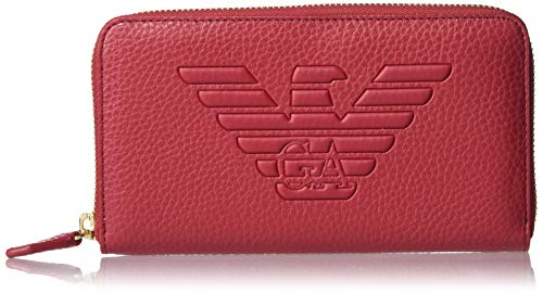 Emporio Armani Herren Designer Zip Around Wallet with Graphic Eagle Logo Geldbörse, rubinrot, Einheitsgröße