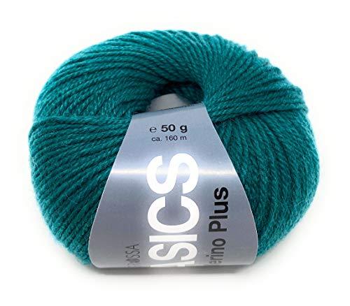 Lana Grossa Basics Merino Plus 50 gr.50% Schurwolle/50% Polyacryl,zum Stricken und Häkeln, Babywolle, (5 grün)
