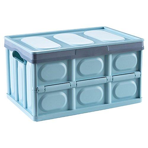 Boîte de rangement en plastique pliable, jouet, boîte de stockage de stockage de vêtements grande, boîte de rangement couverte (Couleur : Blue)