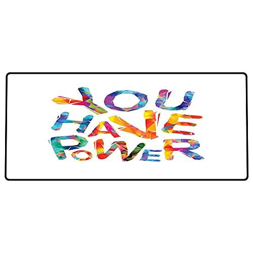Alfombrilla de ratón para Juegos 600 x 300x3 mm,Cita, Tienes Poder inscripción Motivacional Letras Triangulares Colorido diseño Juvenil, Multicol Base de Goma Antideslizante, Adecuada para Jugadores