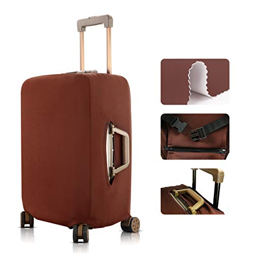 TOGEDI Travel Luggage Elastic Cover Suitcase Washable Anti-Scratch Stretchy Protector (M(22-25inch luggage), Coffee)
