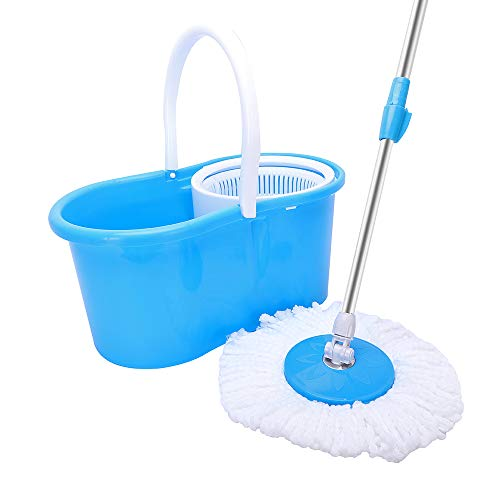 360° Spin Mop with Buckets and 2 Microfiber Spinning Mop Heads, Adjustable Stainless Steel Handle, Wet or Dry Washable Floor Cleaning System for Home and Office (Blue)