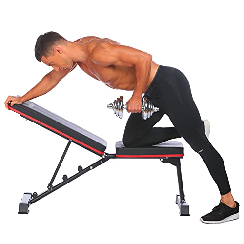heka Adjustable Dumbbell Stool Abdominal Bench Foldable Weight Bench Multi-Purpose Sit Up Bench Fitness Equipment Foldable Flat Exercise Chair Workout Multifunctional Training Backrest