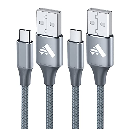 USB C Cable 2Pack 6FT Nylon Type C Charger Cord Fast Charging Cable for Samsung Galaxy A10e A01 A11 A12 A20 A21 A51 A52 A71 S21 S20 FE S8 S9 Plus,Note 8 9,LG V30 V20 K51 Stylo 5,Moto,Google Pixel-Gray