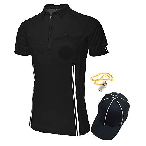 TopTie USSF Pro Camiseta de árbitro de fútbol para hombre, manga corta, sombrero y silbato de entrenador de metal para fútbol, color negro -2XL