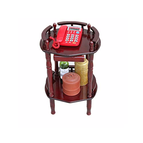 H-ei Living Room Wooden Floor Table Mahogany Color Solid Wood Coffee Table Living Room Telephone Rack Assembly Simple Furniture (Size : A)
