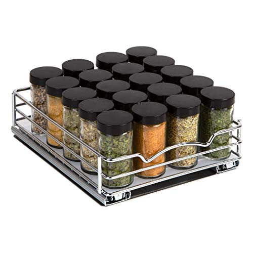 Pull Out Spice Rack Organizer for Cabinet – Heavy Duty Chrome Slide Out Spice Rack 8-3/8