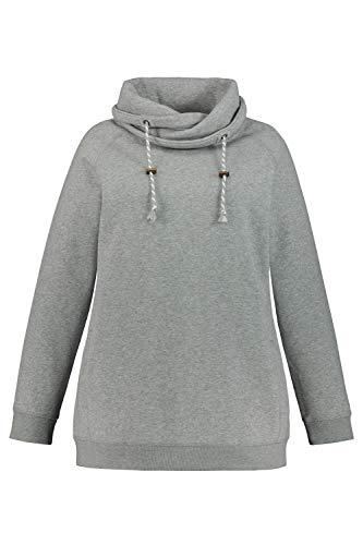Ulla Popken Damen Sweatshirt, weiter Stehkragen, Kordel, Raglanärmel Sweatjacke, Grau (Grau-Melange 71396312), 46+