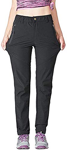 Women's Hiking Pants Outdoor Lightweight Quick-Drying Sportswear Travel Pants with Zipper Pocket Black M