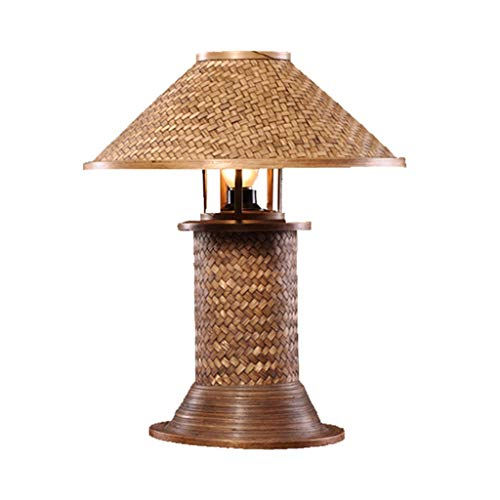 Lámparas de Escritorio Dormitorio creativo Lámpara de noche Retro Simple Marco de bambú hecho a mano Lámpara de mesa decorativa Lámpara de Mesa