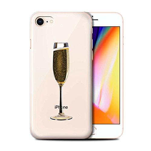 Telefoonhoesje voor Apple iPhone SE 2020 Sass/Sassy Glass Bubbly/Champagne Design Transparant Helder Ultra Slim Dun Hard Back Cover