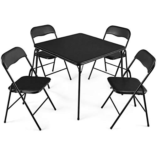 Giantex 5-Piece Folding Table and Chairs Set Multi-Purpose Kitchen Dining Games Table Set 1 Table 4 Chairs w/Padded Seat, Table Size 33'x33'x27.5'(LxWxH), Black