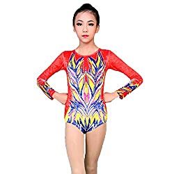 Gymnastics Suit Red Spandex High Elasticity Handmade Long Sleeve