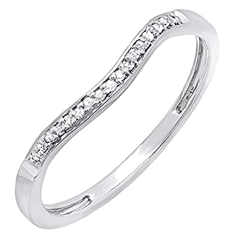 Dazzlingrock Collection 0.10 Carat  ctw  Round White Diamond Ladies Enhancer Wrap Guard Curved Style Stackable Wedding Band 1/10 CT | 925 Sterling Silver Size 7