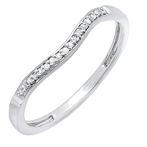 DazzlingRock Collection - Anillo de mujer de plata de ley de 0,10 quilates con diamantes redondos para aniversario de boda, anillo de protección de 1/10 quilates