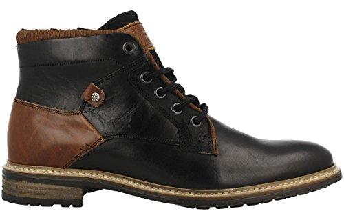 BULLBOXER Herren Winterstiefel 870K56088,Männer Winter-Boots,Fellboots,Fellstiefel,gefüttert,warm,Blockabsatz,Black,EU 45