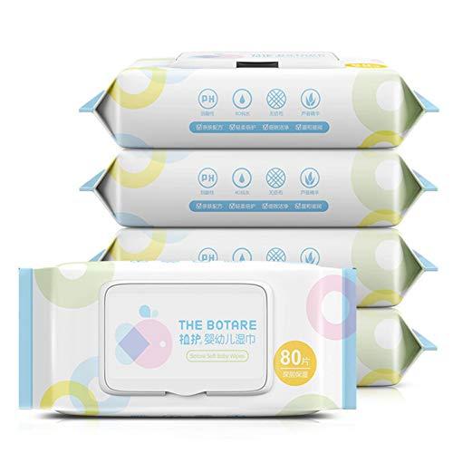 N-B Toallitas húmedas para bebé 80 Bombas/Paquete con Cubierta Toallitas portátiles de Papel Toallitas húmedas para la Boca de la Mano del bebé 5 Paquetes