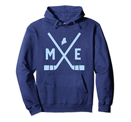 AZSTEEL Vintage Maine Ice Hockey Sticks State Outline Pullover Hoodie | Black Novelty Unisex Lightweight Pullover Hoodie