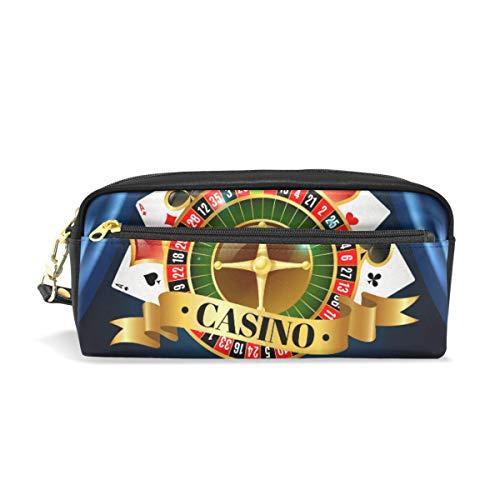Casino Night Games - Estuche para lápices de juegos de dados con símbolos para la escuela, estuche para lápices de niños, gran capacidad, caja de maquillaje, caja de cosméticos para oficina, bolsa de viaje