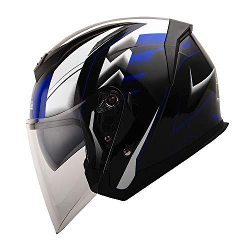 1STORM MOTORCYCLE OPEN FACE HELMET SCOOTER CLASSICAL KNIGHT BIKE DUAL LENS/SUN VISOR RACING BLUE