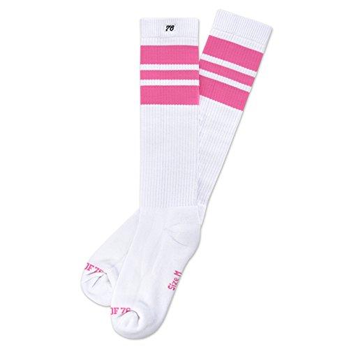 Spirit of 76 Herren & Damen Sport Retro Skater Socken Hoch Baumwolle Tubesocks 35 36 37 38 Weiß - Pink Hi (S)